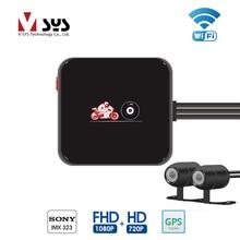 VSYS M6L Wi-Fi 2CH Видеорегистраторы для мотоциклов регистраторы с Full HD 1080 P + 720 P спереди и сзади Вид Водонепроницаемый мотоцикл Камера Регистраторы gps