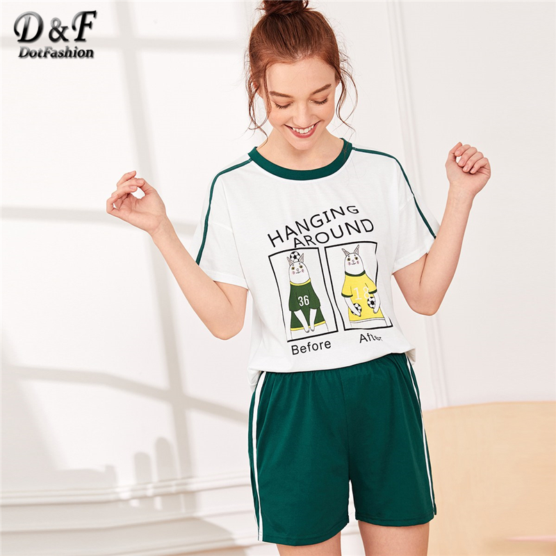 Dotfashion Cartoon And Letter Print   Pajama     Set   2019 Summer Casual   Pajamas   For Women Short Sleeve Short   Sets   Ladies Nightwear