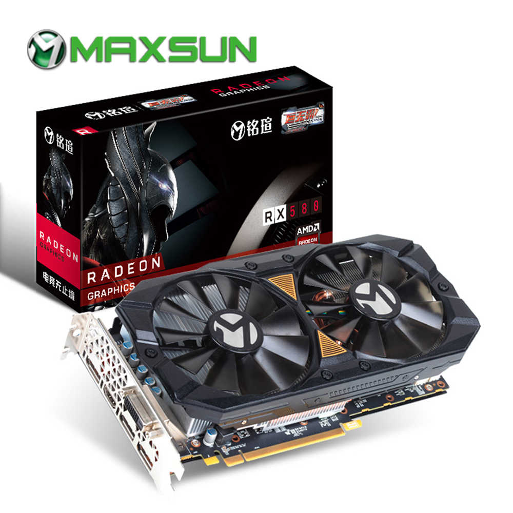 MAXSUN rx 580 Big Mac Plus 8G graphic card 256bit AMD GDDR5 8000MHz 1257-1340MHz HDMI+3*DP+DVI 2304units RX580 video card for PC