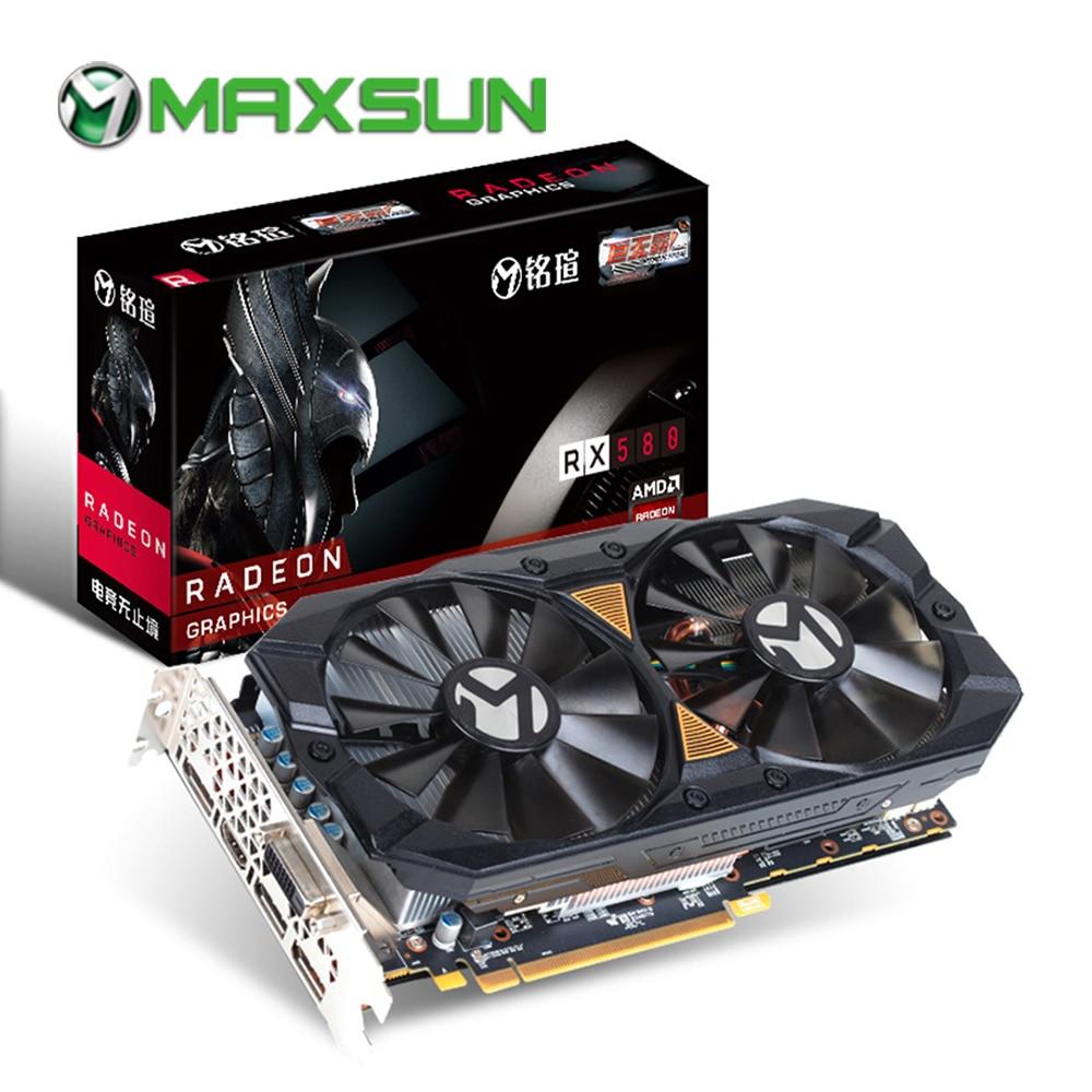 US $168 87 47% OFF|MAXSUN rx 580 Big Mac Plus 8G graphic card 256bit AMD  GDDR5 8000MHz 1257 1340MHz HDMI+3*DP+DVI 2304units RX580 video card for  PC-in