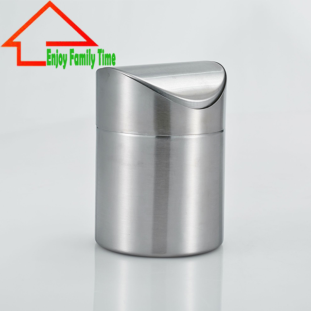 US $17.71 19% OFF|Free Shipping Stainless Steel Trash Can Mini Standing  Round Shape Rolling Cover Type Buchet for Kitchen Tools-in Waste Bins from  ...