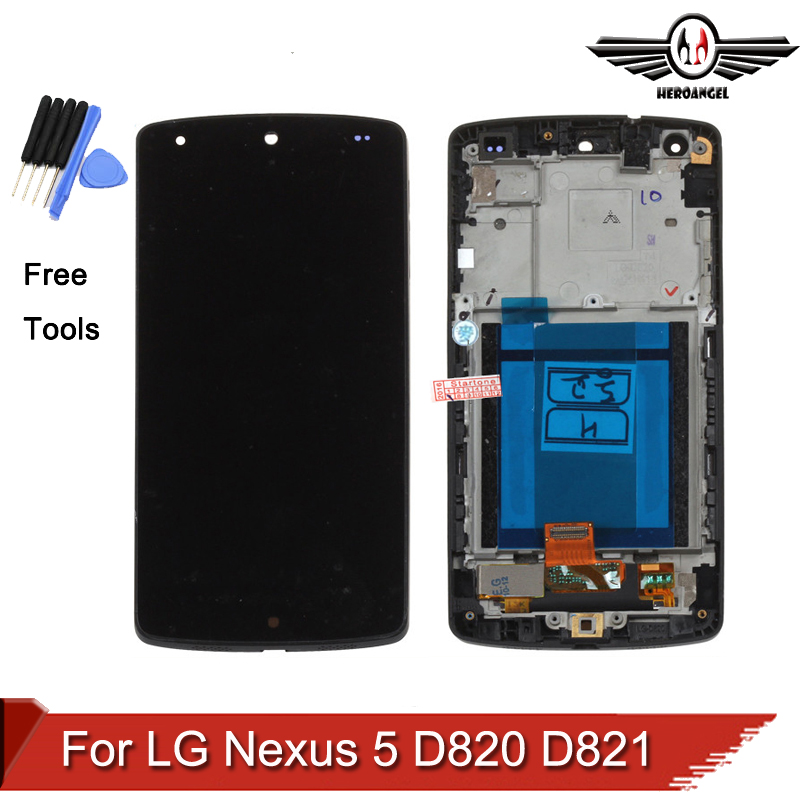 LCD For LG Google Nexus 5 D820 D821 LCD Display Touch Screen Digitizer With Bezel Frame free shipping for lg google nexus 5 d820 d821 lcd with touch screen digitizer frame assembly free shipping