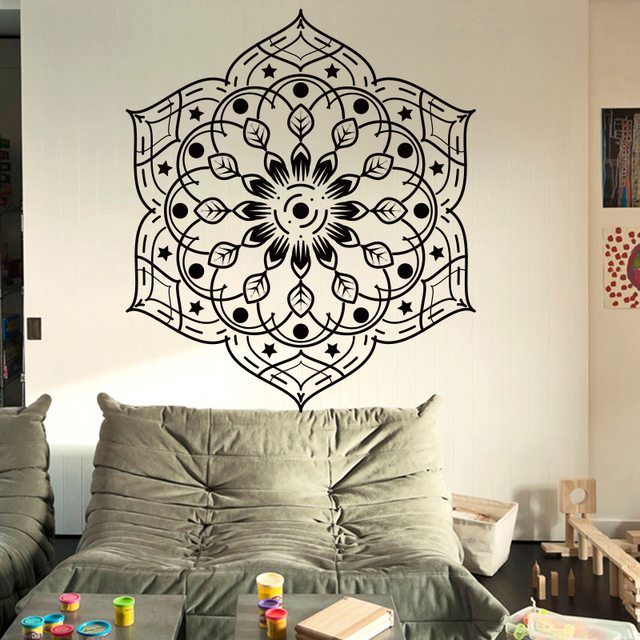 mandala flower yoga art wall sticker meditation india buddha god om
