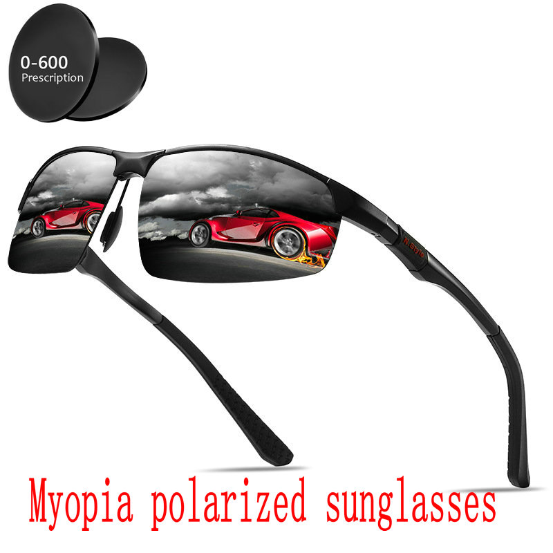 Custom Made Myopia Minus Prescription Polarized Lens Polarized Aluminum Magnesium Sunglasses BlackCoating Anti-wind Goggle FML