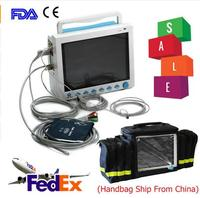 Free Shipping CE&FDA 12.1 ICU/CCU Multi Parameter Vital Signs Patient Monitor CONTEC CMS8000+bag
