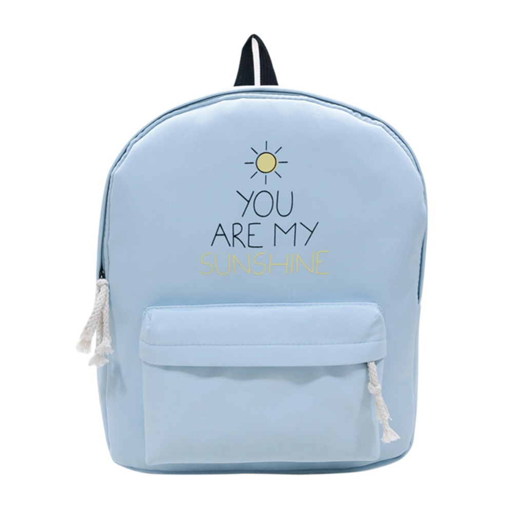 Canvas Backpack Causal Travel Bags Sunny Girl School Teenage Girls Letter Printing Backpacks Mochila Bolsas