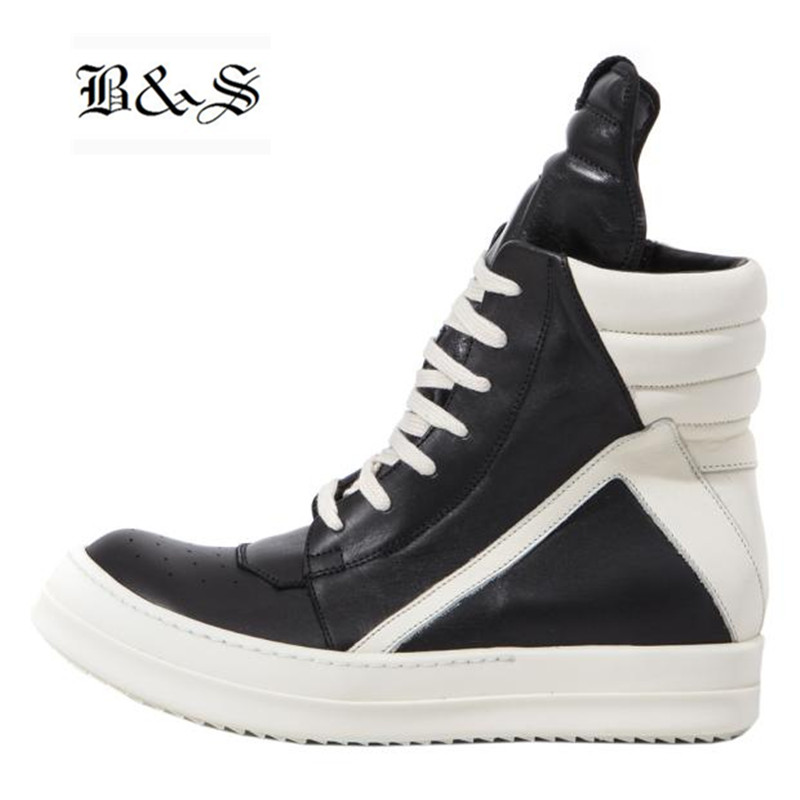 Black& Street Men High-TOP Ankle Boots Genuine Leather Hip Hop Luxury Trainers Boots Casual Lace-up Zip Flat Black White Shoes 2018 spring street flat genuine leather rivet women shoes high quality punk style hip hop round toe buckle high top sneakers