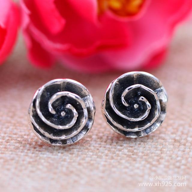 Black silver jewelry wholesale 925 sterling silver jewelry fashion flower female xh052752 Earrings