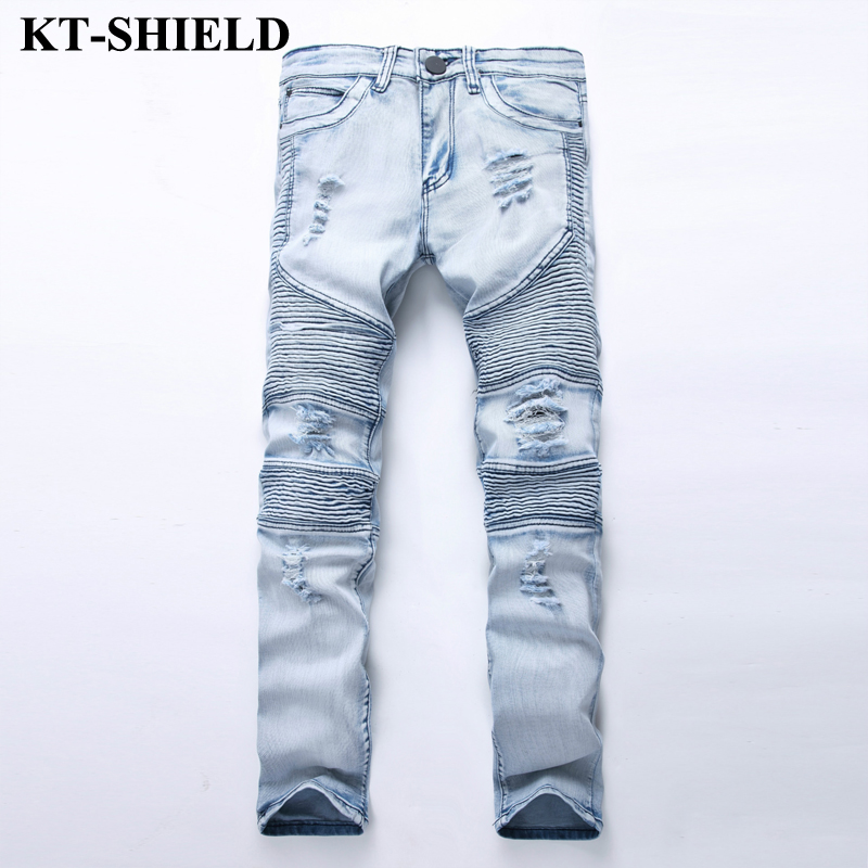 New Arrival Famous Brand Jeans For Men Slim Fit Ripped Denim Mens Fashion Distressed Hip Hop Pants Biker Jeans Cotton Size 28-42 2017 fashion patch jeans men slim straight denim jeans ripped trousers new famous brand biker jeans logo mens zipper jeans 604