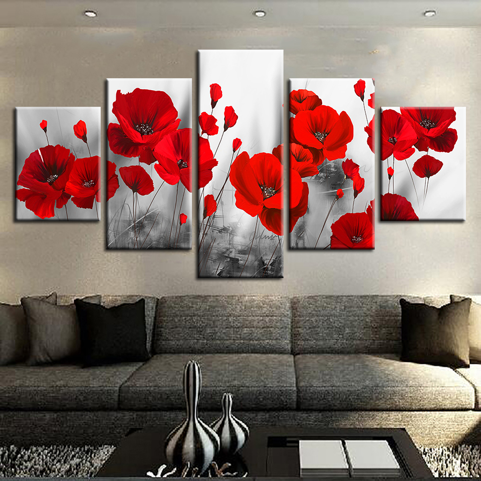 Canvas-Printed-Pictures-Living-Room-Wall-Art-Framework-5-Pieces-Romantic-Poppies-Paintings-Red-Flowers-Poster