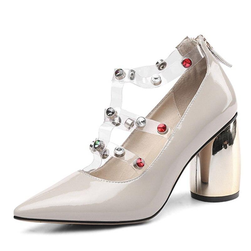 Talons Femmes Fedonas Verni Tirette Pompes Rond Chaussures Mode Doux Pointu Bout Nouvelle rose Bal kaki Cuir De En À Noir Sandales Strass Femme ppqa4w