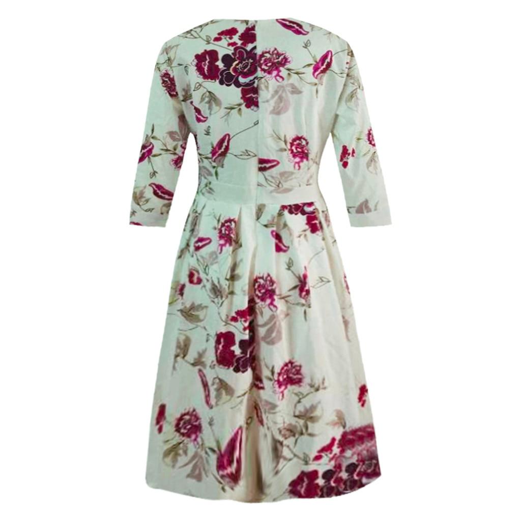 HTB1UyTfPhnaK1RjSZFtq6zC2VXaq 2019 Fashion Sexy Dress Girl Summer Dresses Casual Elegent A-line Vintage Printing Party Vestidos Dress Women Summer Plus Size