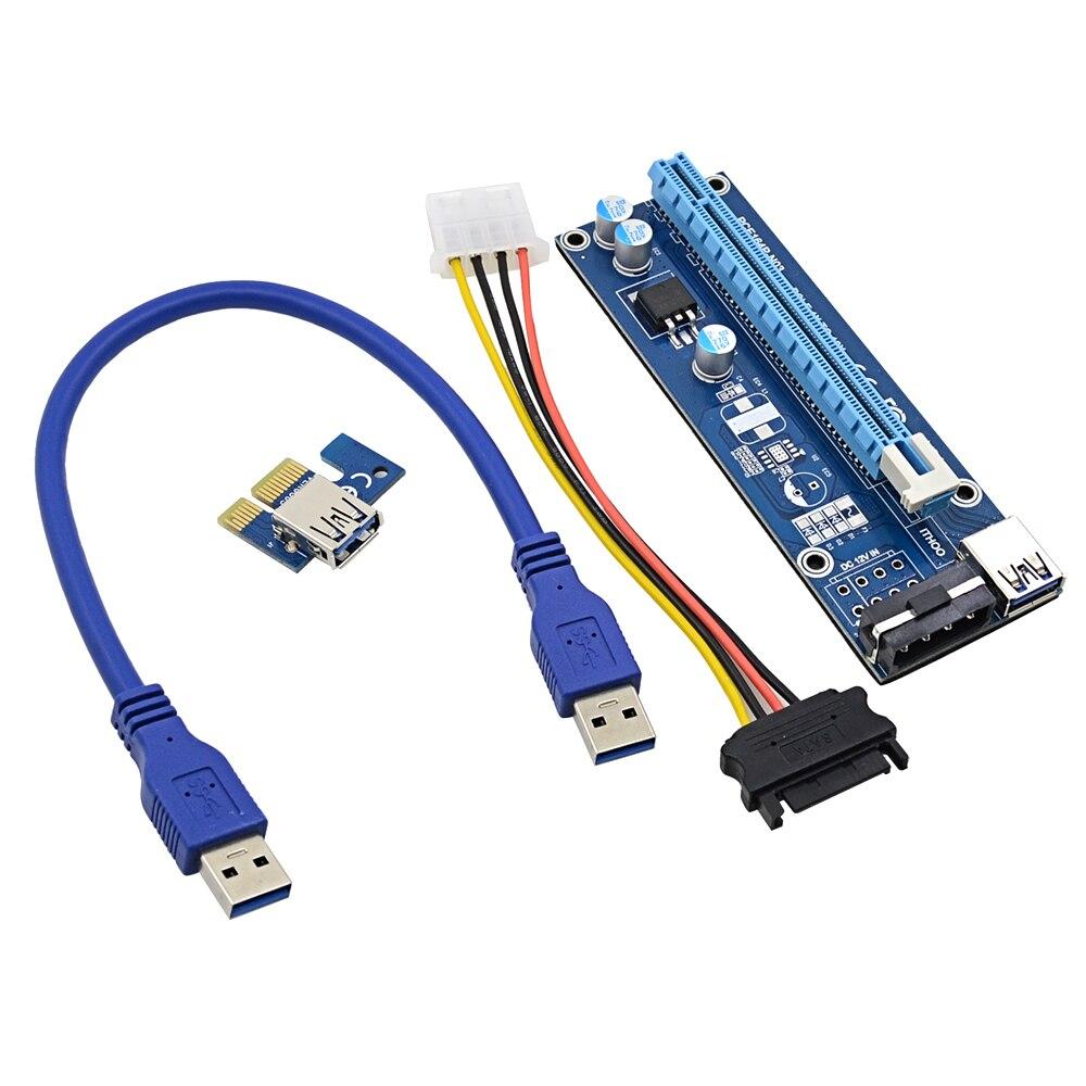 bilder für NOTAYO 20 STÜCKE 0,3 Mt PCI-E 1X Zu 16x Riser Card Extender + USB 3.0 kabel + SATA auf 4Pin IDE Molex Power Draht für BTC LTC Miner maschine