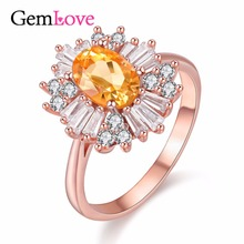 Gemlove Rose Gold Plated 1ct Citrine Ring 925 Sterling Silver Jewelry Engagement Rings for Women Gemstone Bague 40%off FJ053