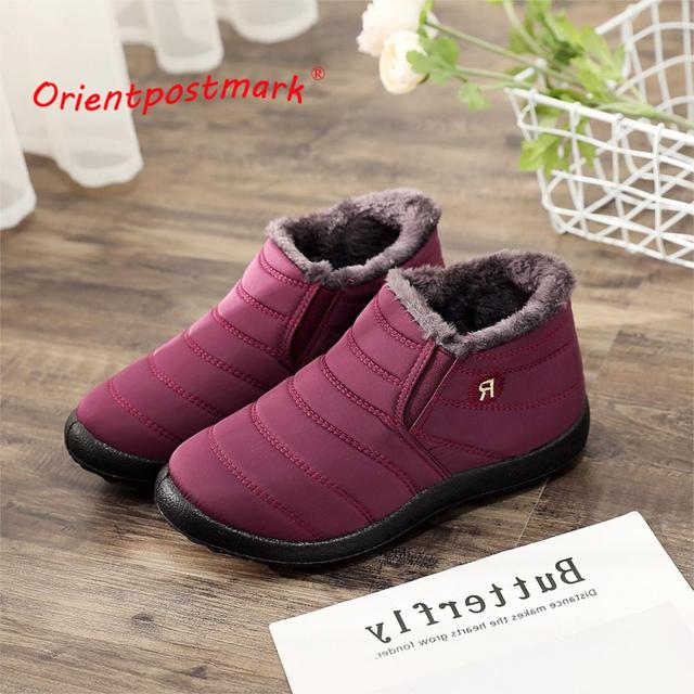 ผู้หญิงฤดูหนาวรองเท้า Unisex คู่หิมะรองเท้าผู้หญิงข้อเท้ารองเท้าแฟชั่นสีผู้หญิงข้อเท้ารองเท้ากันน้ำอุ่น
