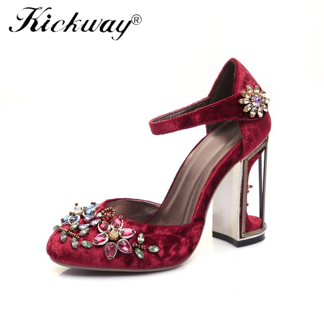 Kickway Plus Size 34-41 Ankle Strap Buckle Ethnic Wedding Shoes Women Bird  Cage Flower Heel Women s Genuine Leather Shoes Pumps 1d8c7aa4a33e