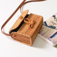 fashion Bali Bohemian boutique autumn cane hand woven bag square butterfly buckle rattan bag handbag Messenger bag