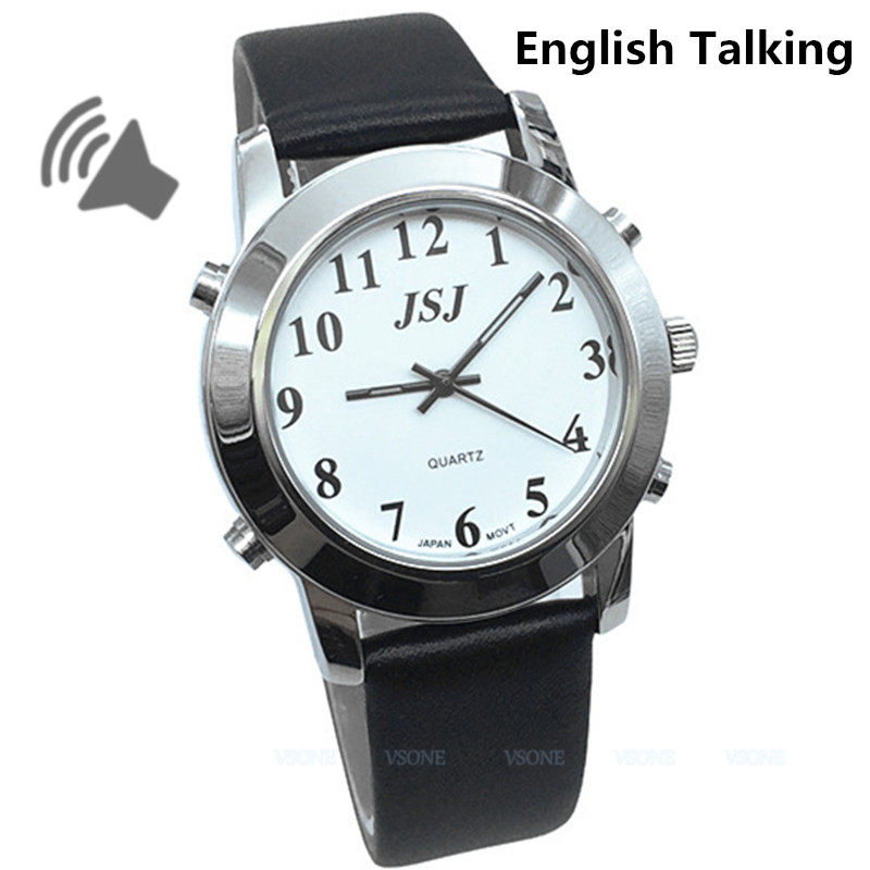 English Talking Watch for Blind People or Visually Impaired People, Leather Strap newly launched german talking watch for blind or low vison people with alarm for the elderly speaking quartz