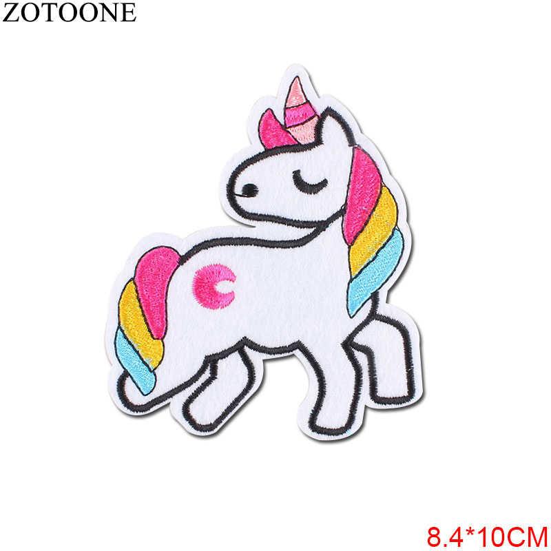 Zotoone Unicorn Parchs Bordir Besi Pada Patch untuk Gadis Pakaian Diy Mata Garis Pakaian Mainan Stiker Lencana Diy E