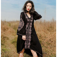 2018new embroidery with rope loose large size dress V neck Aline swallow tail Folk national style bohemian cotton dress
