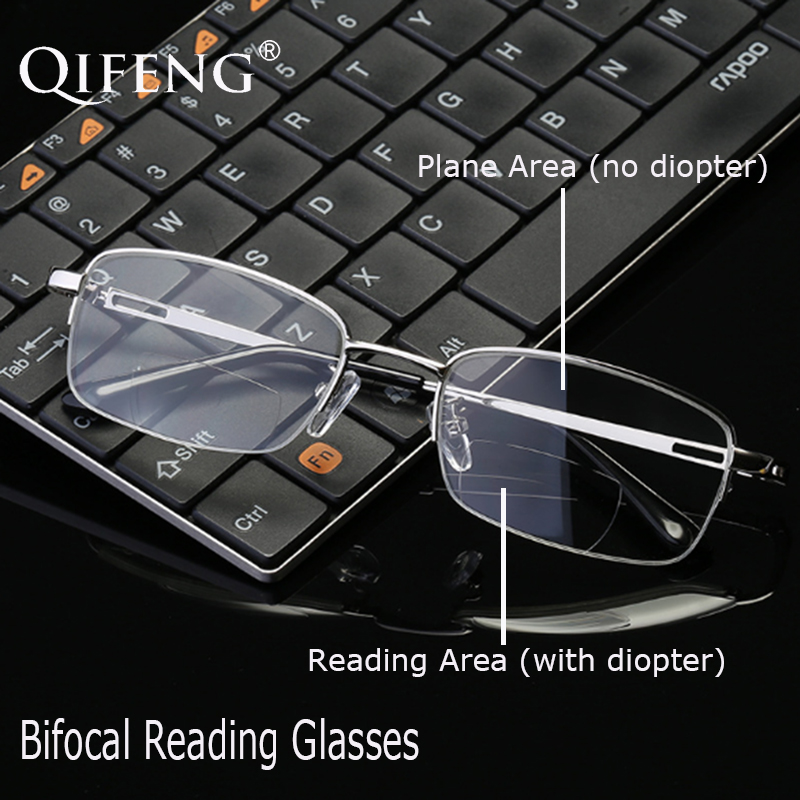 QIFENG Bifocal Reading Glasses Men Diopter Presbyopic Male Eyeglasses Prescription Eyewear +1.0+1.5+2.0+2.5+3.0+3.5+4.00 QF242