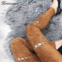 Hirsionsan Suede Leather Pants Women Autumn Winter Lace Up Bodycon High Waist Pants Leggings Soft Pencil