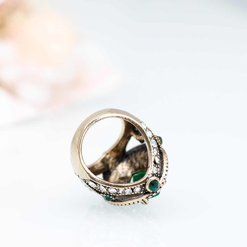 المغرب العرقية الزفاف Vintage خواتم للنساء كبيرة كريستال كامل الطبيعة الأحجار العتيقة لون الذهب عفا عليها الزمن مجوهرات هدايا 2018 جديد