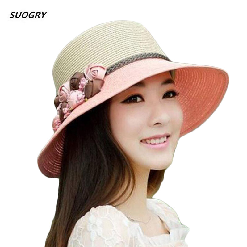 2019 New Female Summer Beach Hat Sun Hats Travel Cap Ladies Wild Big Hat Flower Lace Sunscreen Elegant