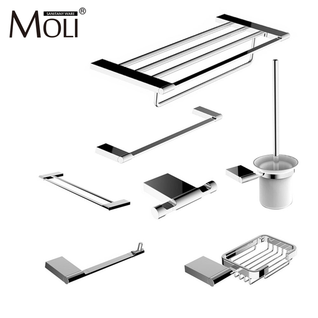 Modern Bathroom Accessories Set Wall Mount Chrome Finish Towel Bar Shelf  Brush Holder Paper Roll Rack