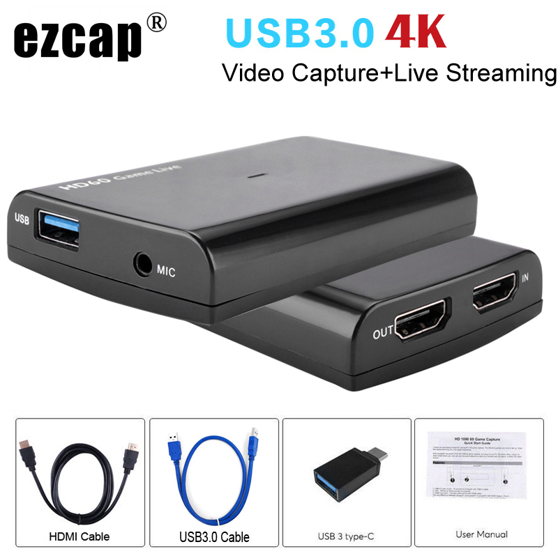 4K 1080P 60fps HDMI Phone Game Capture Card Mic Video Record Box for PS3 PS4 Xbox Camcorder Twitch Hitbox Youtube Live Streaming