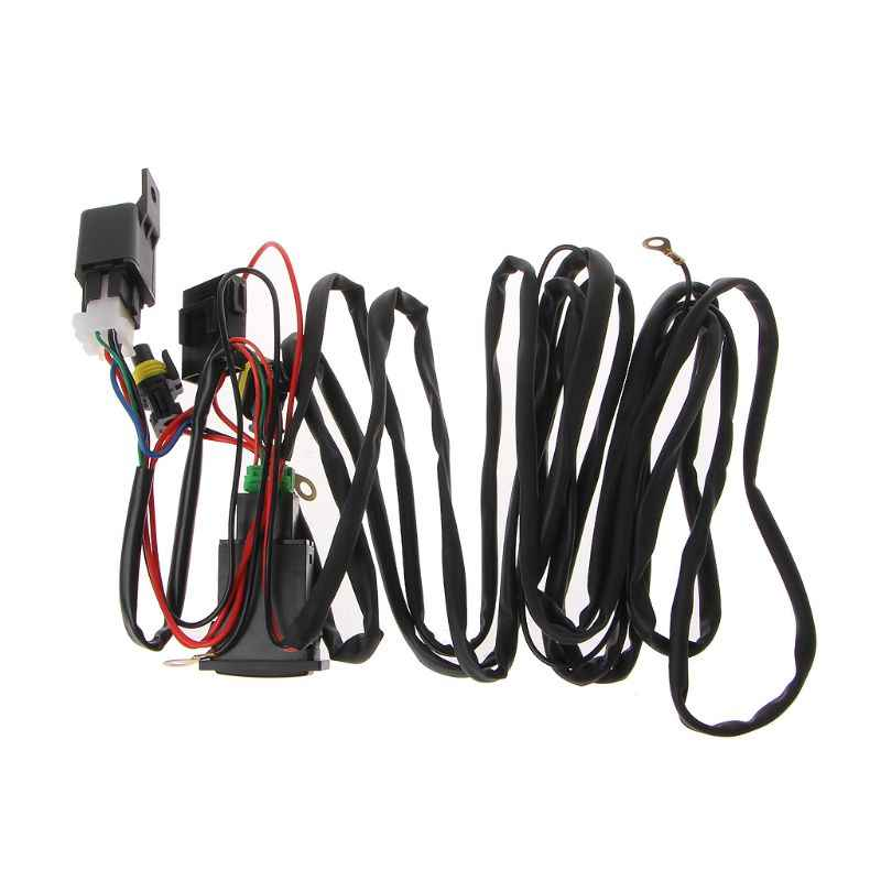 Universal 12V 40A Relay Wiring Harness dengan ON/Off Switch Kit untuk Mobil Lampu Kabut LED M77