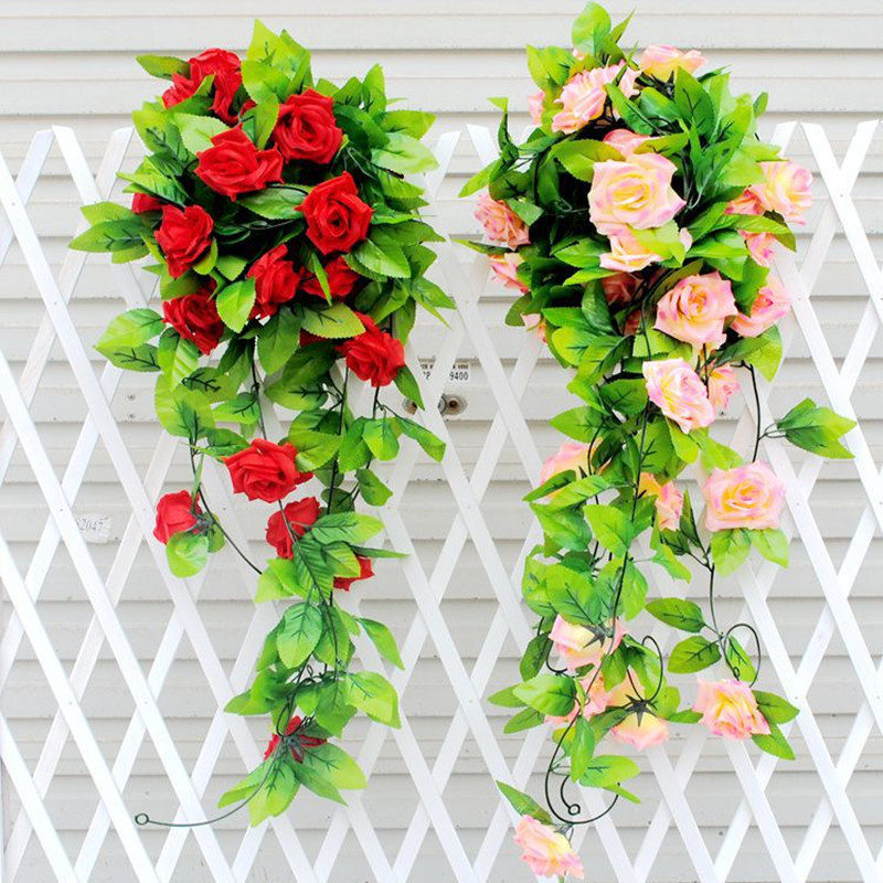 245cm Artificial Rose Garland Silk Vine Flower With Green Leaves