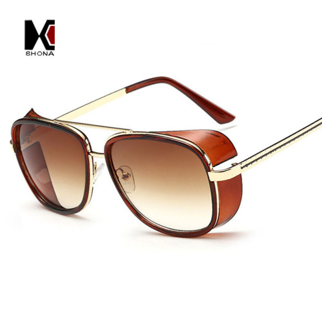0de9fb0db7e SHAUNA Cheaper Iron Man 3 Matsuda Sunglasses Men Square Sun Glasses Brand  Designer Women Punk Sunglass