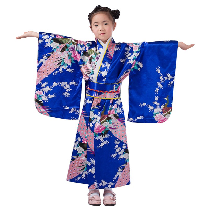 Christmas Dress for Girls Nylon Bright Color Costume Baby Girl Kimono Japanese Style Kids Clothes Chinese Costume for Children