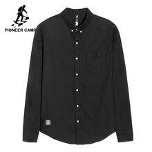 Pioneer kamp yeni uzun kollu gömlek erkekler marka giyim basit katı gömlek erkek yumuşak 100% pamuk gömlekler erkekler için siyah ACC801460