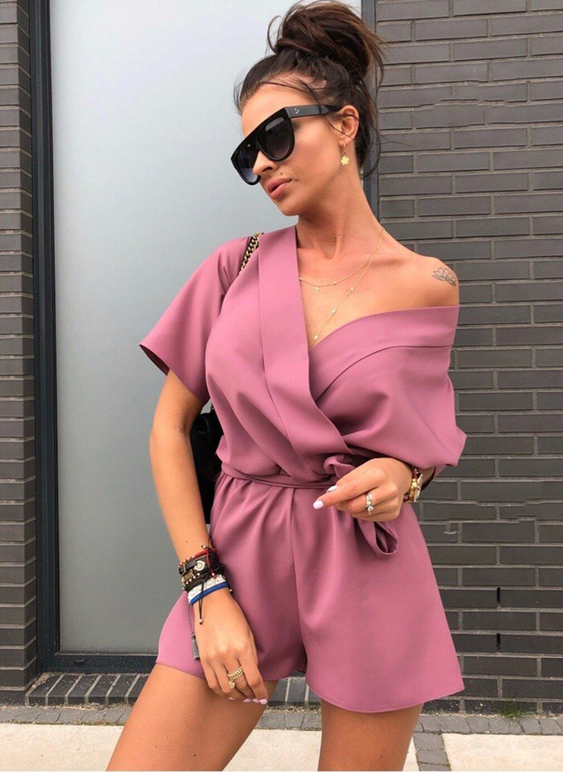 Summer New Fashion Short Sleeved Belt Women Rompers Solid Color Sexy V-Neck Chiffon Jumpsuit Casual Boho Beach Playsuits