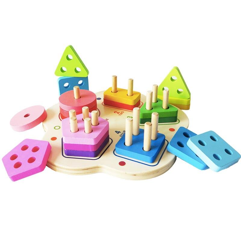 Деревянные игрушки детские головоломки геометрический штабелер головоломки обучения Развивающие игрушки для малышей для детей 2-4 года ...