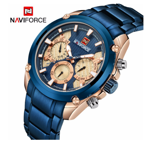 Top Brand <font><b>NAVIFORCE</b></font> <font><b>9113</b></font> Blue Luxury Gold Men's Sport Shape Wrist Watches Full Steel Stainless Steel Water Resistant Men's Watch image