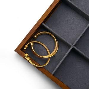 Image 3 - FANXI New Solid Wood Jewelry Display Tray Cream white & Dark Grey  Necklace Bracelet Ring Organizer Tray Jewelry Display Stand