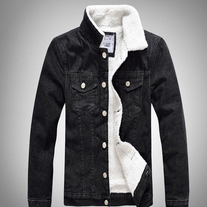 2019 Winter Mens Fleece Jeans Jackets Male Thick Warm ...