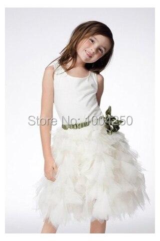 White Satin Scoop Cap Sleeve Skirt with Ruffles & Detachable Sash Knee-Length Short   Flower     Girl     Dress   AF010
