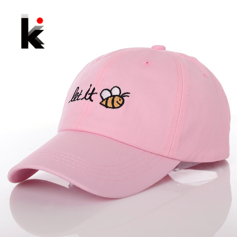 цены 2017 Womens Snapback Caps Spring Casquette De Baseball Cap Pink Let It Bee Hat  Lady Gorras Summer Hats For Women Chapeau