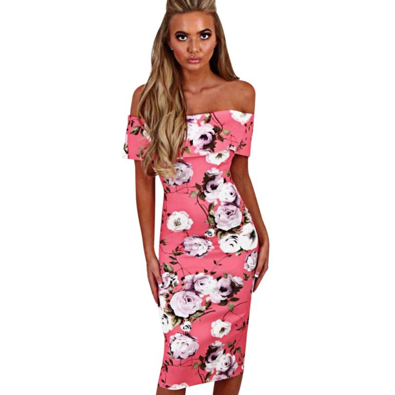 snowshine YLI Women Summer Floral Off The Shoulder Dress Backless Bodycon Dress free shipping