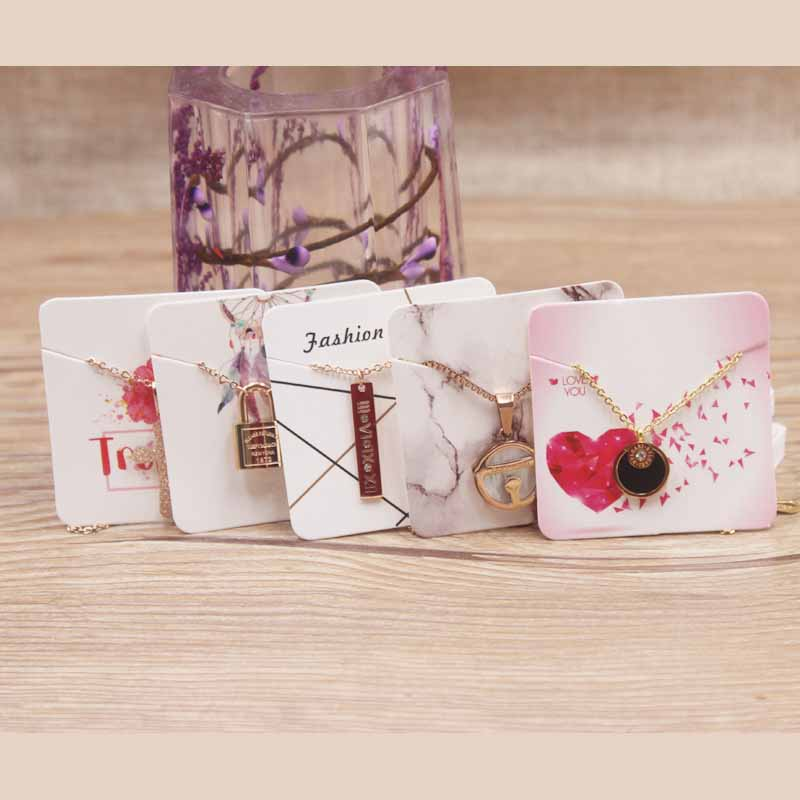 100pcs Paper Fashion Jewelry Display Necklace Cards Diy Handmade /marble/flower Designs Charms Display Hang Label Tag Card