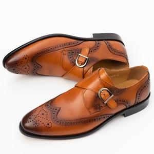 Image 3 - Zapatos de vestir con punta para hombre, calzado masculino de cuero genuino, Brogue, Color amarillo, correa de hebilla, moda de lujo, zapatos formales de boda