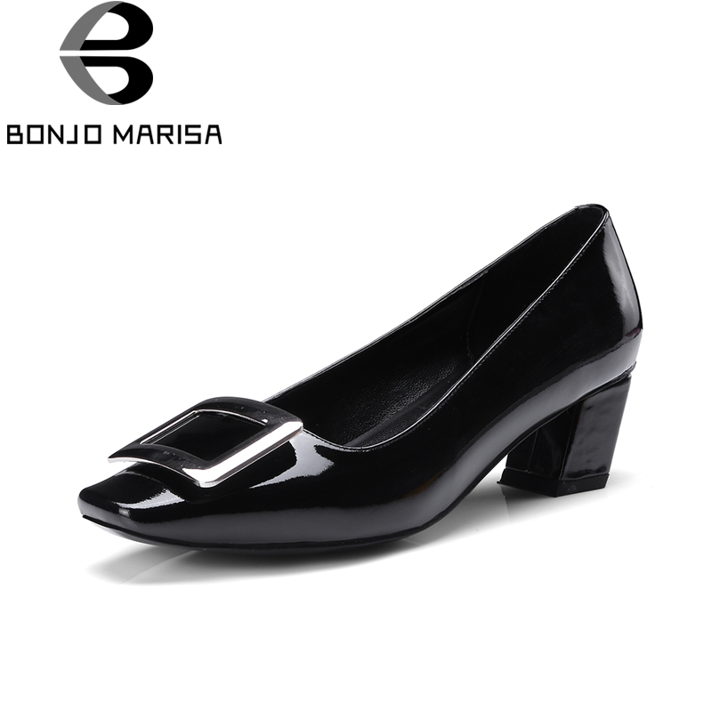 BONJOMARISA 2018 Genuine Leather Slip On Chunky Mid Heels Square Toe Black Pink Office Party Pump Shoes Woman Size 33-40 рюкзак case logic 17 3 prevailer black prev217blk mid