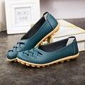 O envio gratuito de primavera/verão clássico das mulheres sola macia salto plana sapatos plus size confortáveis boca rasa sapatos único