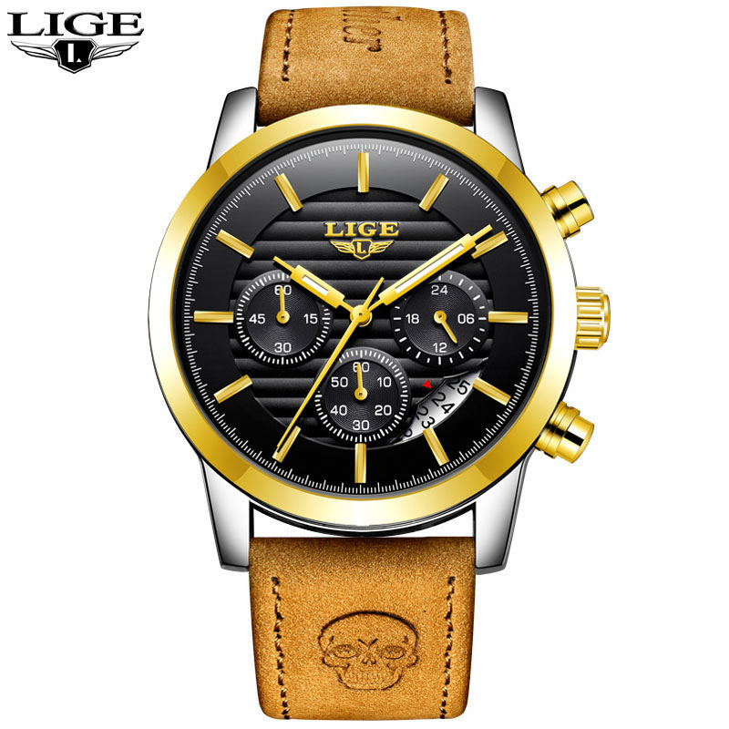 Relogio Masculino LIGE Fashion Watch Men Sport Military Clock Mens Watches Top Brand Luxury Quartz Waterproof Leather Gold WatchRelogio Masculino LIGE Fashion Watch Men Sport Military Clock Mens Watches Top Brand Luxury Quartz Waterproof Leather Gold Watch