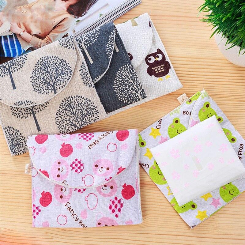 Sanitary-Napkin-Bag Sundries-Organizer Travel Portable Cotton Cartoon Hemp for Woman