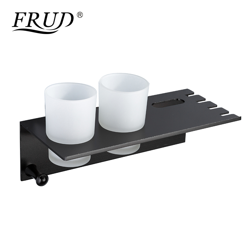 Frud Modern Space Aluminum Cup Holder With Hook Shelf Couple Toothbrush Holder Bathroom Storage Multifunction Storage RackY18076 image